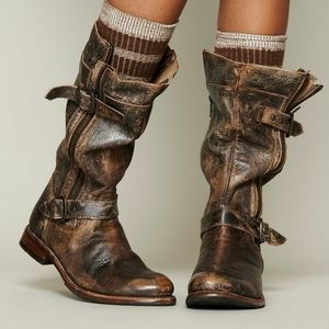 Bedstead distressed leather boots